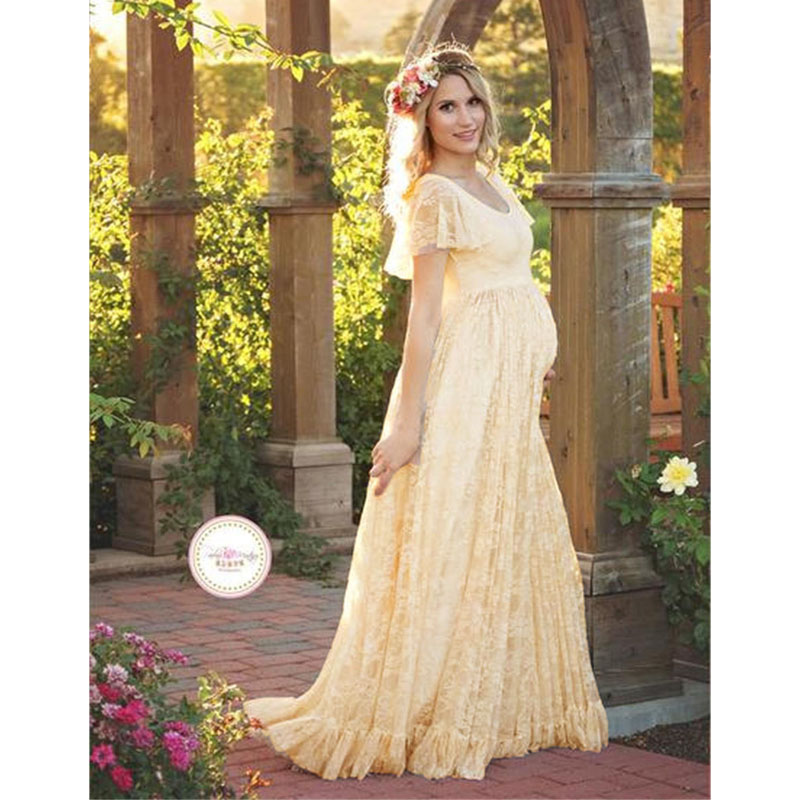 ffe90f83a0895 Maxi Gown Maternity Dresses For Photo Shoot Maternity Photography Props  Lace Pregnancy Dresses For Pregnant Women
