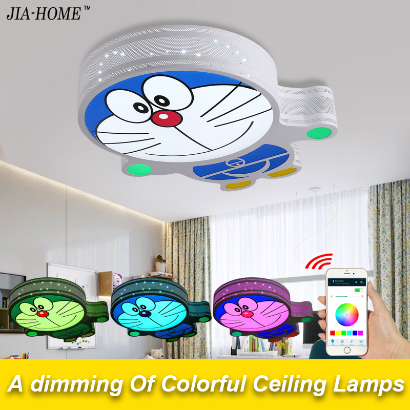 New RGB Dimmable ceiling light fixture with speaker phone Bluetooth control cat shape dome ceiling lamps for Child Bedroom