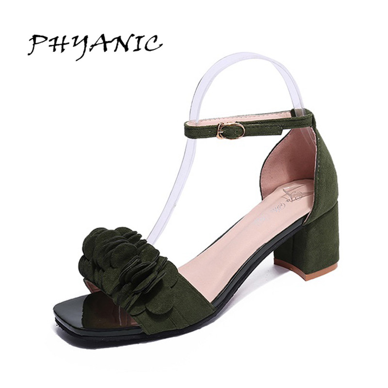PHYANIC Sandals female 2017 summer new the sweet flowers low-heeled shoes Square heels sandals for women elegant sandals PHY8888 2016 summer new leather tendon at the bottom side of the empty fish head crude rainbow low heeled shoes women xtf039