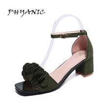 PHYANIC Сандалии женские 2017 летние новые сладкие цветы обувь на низких каблуках Квадратные каблуки сандалии для женщин элегантные сандалии PHY8888