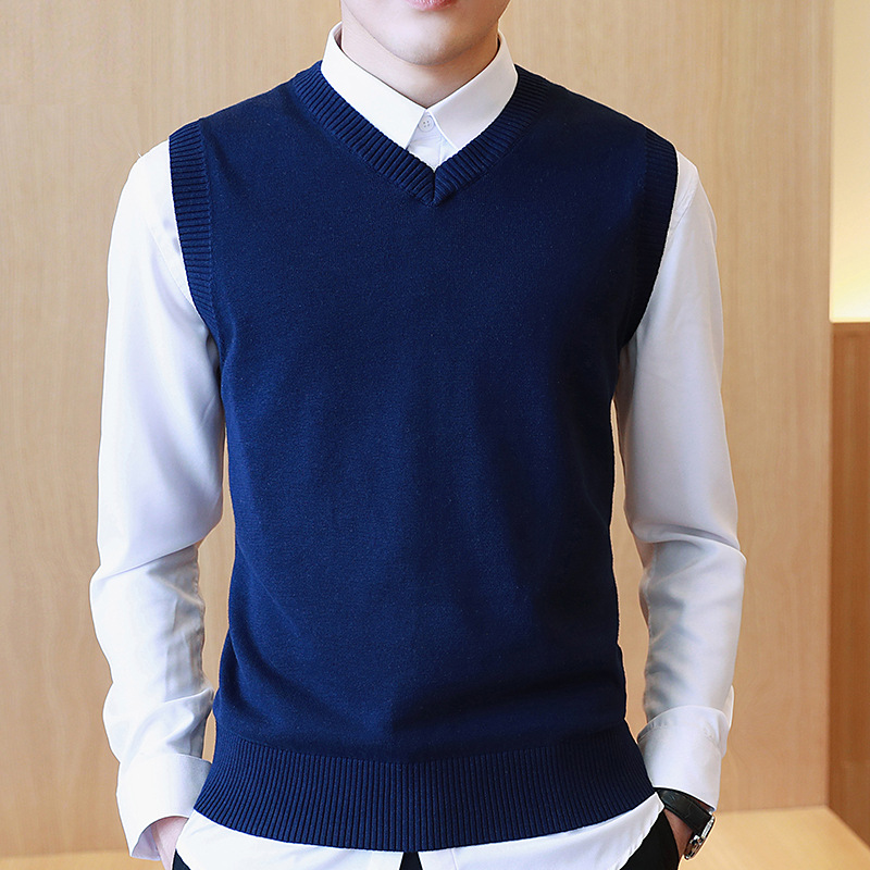 LUX ANGNER Men 100% Cotton Solid Sweater V Neck Casual Male Vest Sweater Men Pullover Knitted Sleeveless Sweater M-3XL
