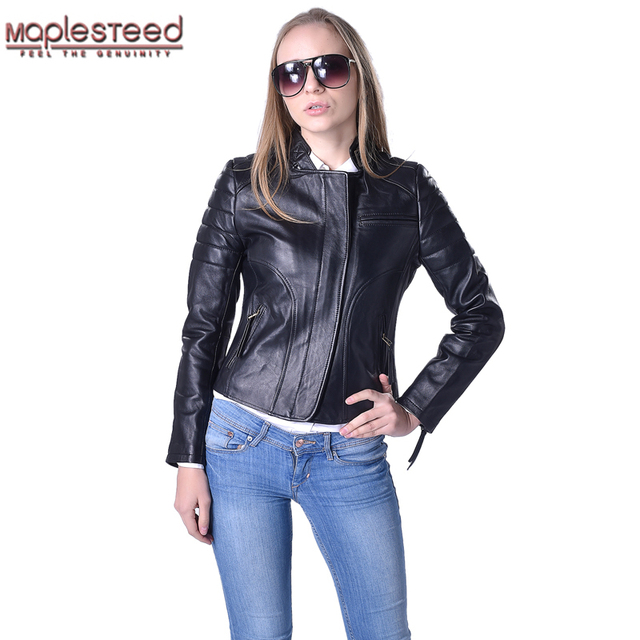 01ca88f58bc Factory Genuine Leather Jacket Women Leather Coat Real Sheepskin Black Slim  Bomber Jackets Ladies Leather Jacket Autumn ZH038