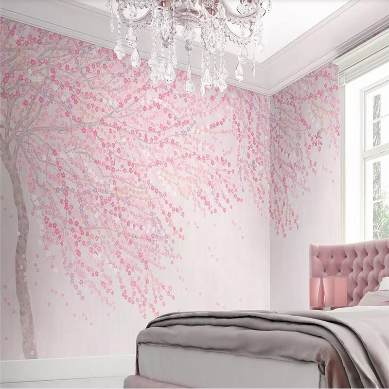 Whole house custom pink cherry blossoms Nordic background wall professional production mural wallpaper poster photo