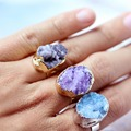 Irregular Agate Natural Drusy Stone Bezel Rings Amethyst Druzy Ring For Engagement