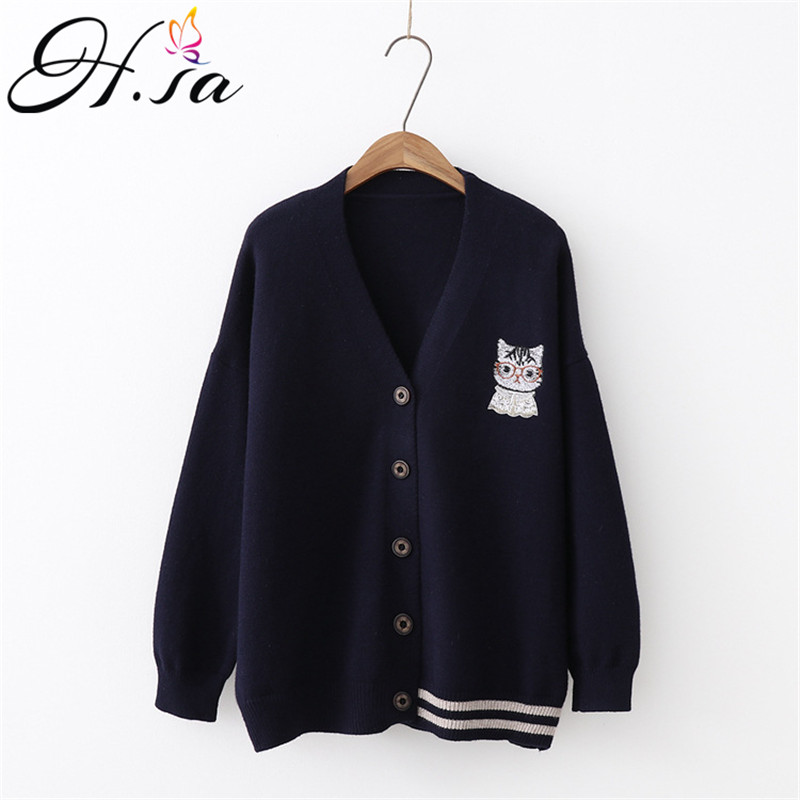 H.SA 2019 New Women Spring Cardigans And Sweater Jumpers Cute Kawaii Cat Print Poncho Cardigans Korean Fashion Loose Knit Jacket
