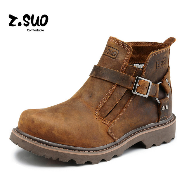 British Retro Boots Men Genuine Leather Brown Motorcycle Boots 2017 Casual Shoes Male Fashion Buckle Quality Zapatillas Hombre