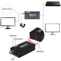3G de Áudio mini HDMI ao conversor SDI conversor Adaptador BNC SDI/hd-sdi/3g-sdi 2.970 Gbit/s + DC Power Supply Adaptador