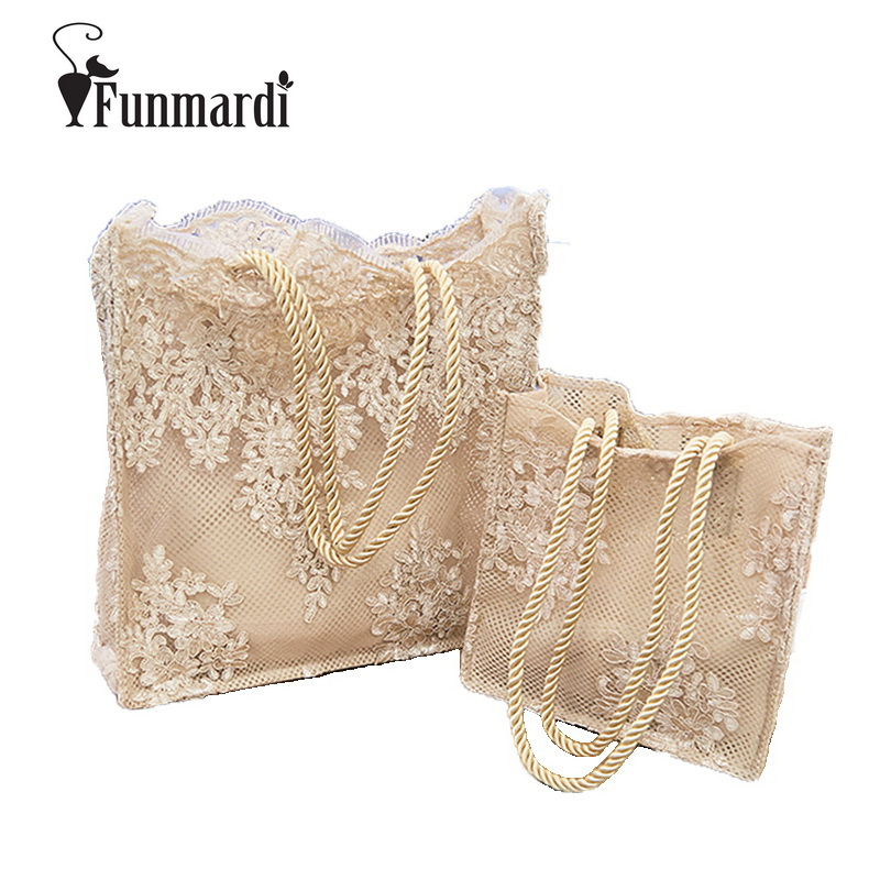 FUNMARDI New Casual Womens Lace Handbags Lovely Sweet Fashion Shoulder Bag Star Style Trendy Totes Bags 2018 Fresh Bags WLAM0228