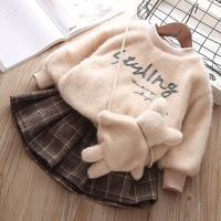 Kids Clothes Set For Girls Toddler Baby Girl Clothes Coat+Tutu Skirt Autumn Winter Thick Velvet Girls Sweatshirt Clothing Set