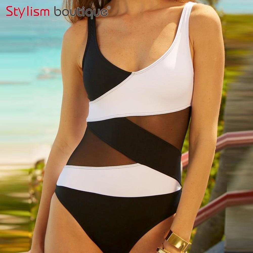 2017 Plus Size Swimwear Patchwork One Piece Swimsuit Women Bathing Suit Mesh Beachwear Padded Bodysuits 5XL plus size scalloped backless one piece swimsuit