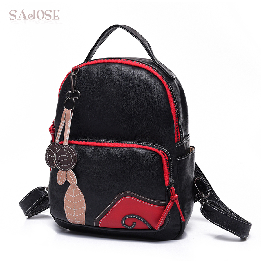 SAJOSE NEW 2017 Fashion student Style Leaves Splicing Women's Shoulder Bag Backpack Bags Women Leather Girls School Backpacks стоимость