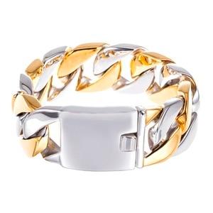 Image 5 - TrustyLan 23MM Wide Thick Chain Solid Golden Stainless Steel Men Bracelet Biker Jewelry Friendship Mens Bracelets & Bangles 2018