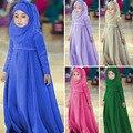 Agradable de la manera de los niños Musulmanes pañuelo + arco + vestido largo 3 unids set alta calidad partido de la princesa vestido de ropa de algodón niñas 16A12
