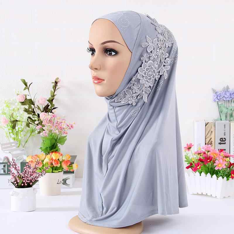 Оптовая продажа 2018 Новый хиджаб тюрбан с бриллианты цветок высокого качества шапочки под хиджаб платок исламский шарф шарфы