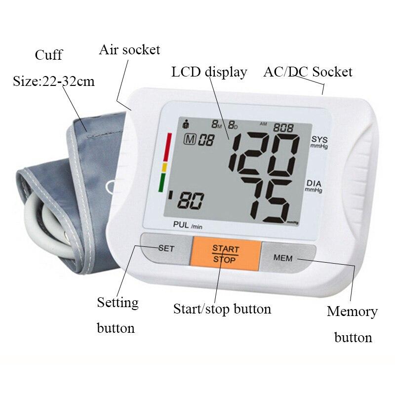Arm Blood Pressure Pulse Monitor Health Monitors care Digital Upper Portable meter sphygmomanometer pulsometro tonometer (2)