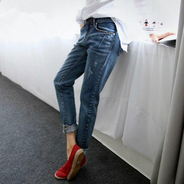 Джинсы-бойфренды для 2017, женская обувь Лидер продаж Винтаж проблемных регулярные спандекс рваные джинсовые штаны-шаровары женщина джинсы 16815