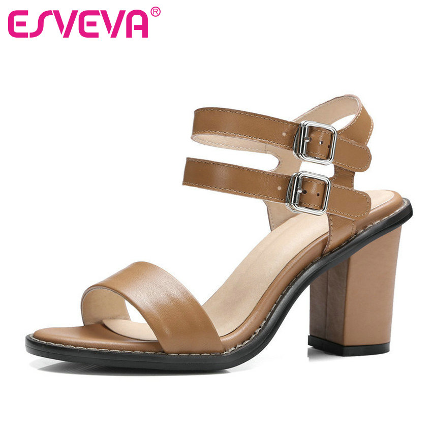 ESVEVA 2017 Women Pumps Platform Genuine Leather Wedding Women Shoes Western Summer Shoes Square  High Heel Pumps  Size 34-39 the head of kay s