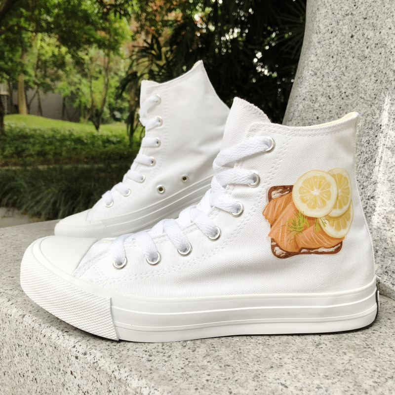 Wen Design Five Food Recipes High Top White Canvas Unisex Sneakers Girl Boy's Rope Soled Skateboarding Shoes for Unique Gift|skateboard shoes|shoes for skateboarding|high top skateboard shoes - title=