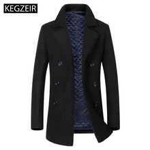 KEGZEIR 2019 Winter Jacket Men Wool Double Breasted Woolen Mens Coats And Jackets Casual Mens