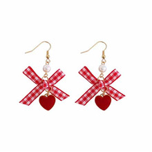 kshmir Fashion eardrop sweet love Bowknot earrings Hand made long dangler earrings fashion beautiful girl