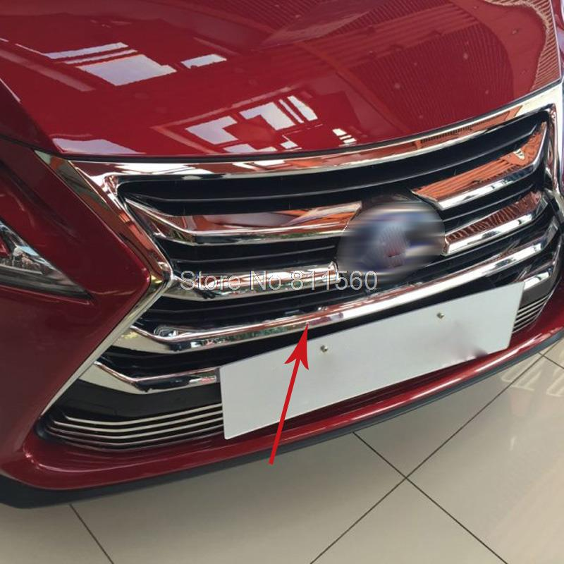 For Lexus NX200 NX300H 2015 2016 ABS Chrome Front Grille Around Trim Front Center Grill Grille Cover Trim Racing Grill Trim 7pcs abs chrome front grille around trim racing grills trim for 2013 hyundai santa fe ix45