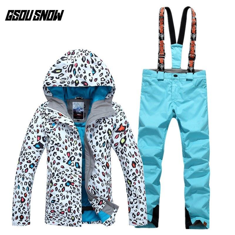 GSOU SNOW combinaison de Ski femme motif léopard hiver épaississement chaud respirant imperméable coupe-vent veste de Ski pantalon de Ski