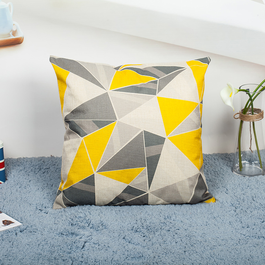 Top Quality Yellow Decorative Pillows Geometric Throw Pillows Case Gray Geometric Cushion Cover Home Deco Pillow Case For Sofa
