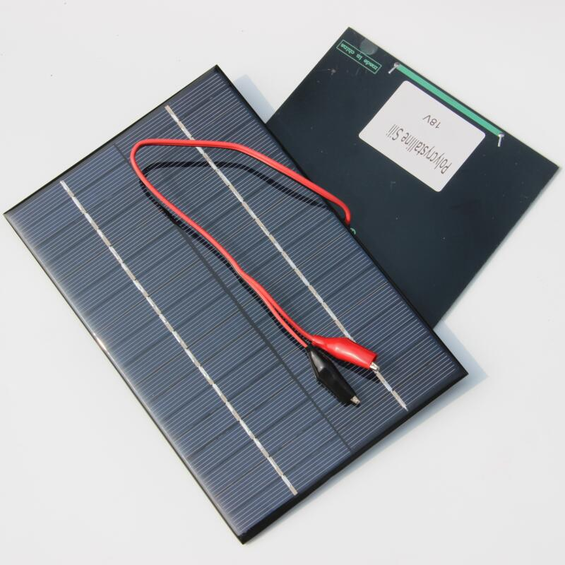 BUHESHUI 4.2W 18V Solar Cell Polycrystalline Solar Panel+Crocodile Clip For Charging 12V Battery Charger 10pcs/lot Wholesale