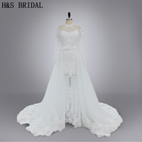 Real Model Custom Made New Arrival 2016 Designer Wedding Gown Detachable Train Long Sleeves Tulle See