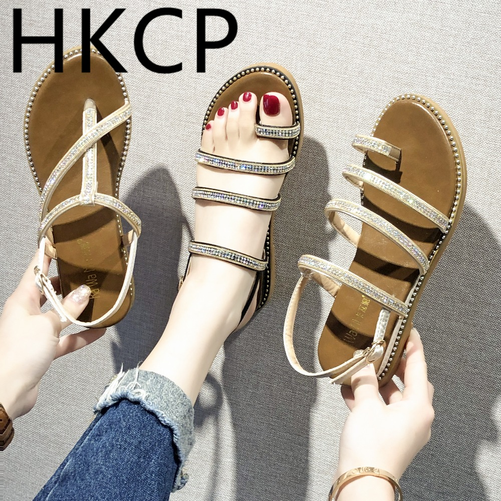 HKCP South Korean sandals 2019 summer new set of toe hollowed-out water drilling flat versatile student C217