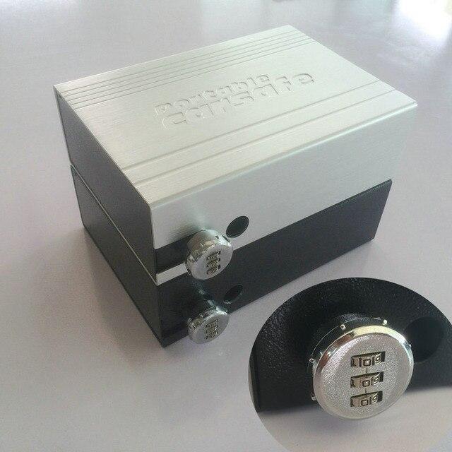 ポータブル車の安全ボックスパスワードロック室内金庫ジュエリー現金ピストル収納ボックスアルミ合金セキュリティ金庫ワイヤーロープ固定