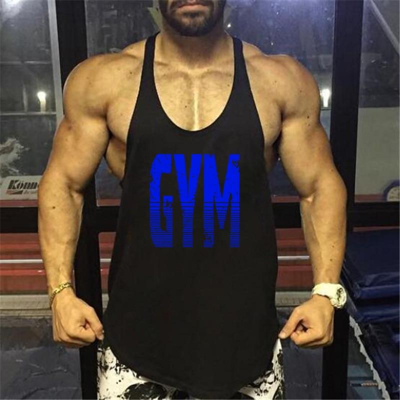 2018 New fitness   tank     tops   men gyms stringer mens canotta bodybuilding shirt gold sleeveless vest cotton clothing