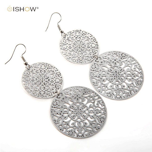 Hollow Earrings For Women Antique Silver Filigree Drop Accessories Statement Eardrop Christmas Gift Boucle D Oreille