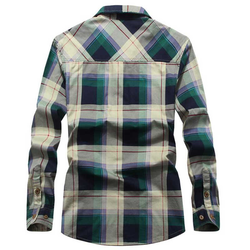2020 kış ekose polar gömlek erkekler % 100% pamuk astar rahat uzun kollu gömlek giyim kalın sıcak sonbahar gömlek Chemise Homme