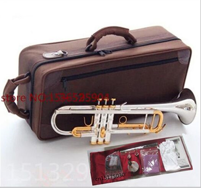 trumpet Silver-plated body gold key LT180S-72 B flat professional trumpet bell Top musical instruments Brass horn one horn double row 4 key single french horn fb key french horn with case surface gold lacquer professional musical instrument