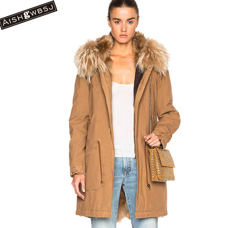 AISHGWBSJ 2017 New Winter Cotton coat Women Real Raccoon Collar Jackets Female Long Parka Fur Liner Detachable Causal Coat PL089 2017 winter new clothes to overcome the coat of women in the long reed rabbit hair fur fur coat fox raccoon fur collar