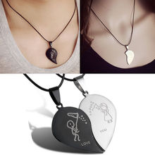 Hot New 2 pcs Fashion Jewelry Couple Broken Heart Choker Necklaces Bla
