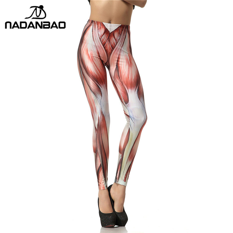 NADANBAO 2019 New Arrival 3D Digital Fashion Unique Red Legins Muscle Leggins Printed Women   Leggings