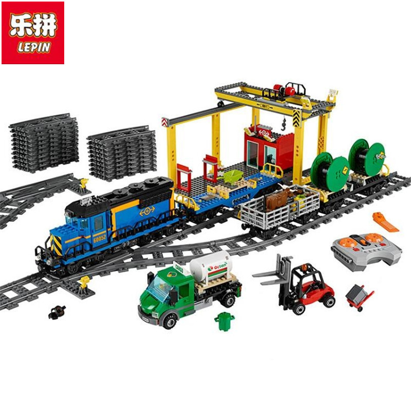 Lepin 02008 959PCS City Explorers Cargo Train DIY Building Blocks Bricks educational Toys for children Gifts lepin 02008 the cargo train 959pcs city series legoingly 60052 plate sets building nano blocks bricks toys for boy gift