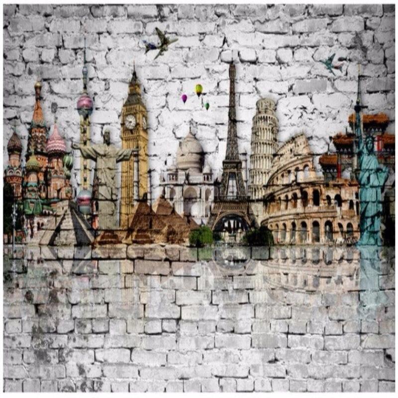 Papier peint Mural personnalisé toute taille 3D brique mur monde Architecture tour Eiffel grand Ben TV toile de fond papier peint
