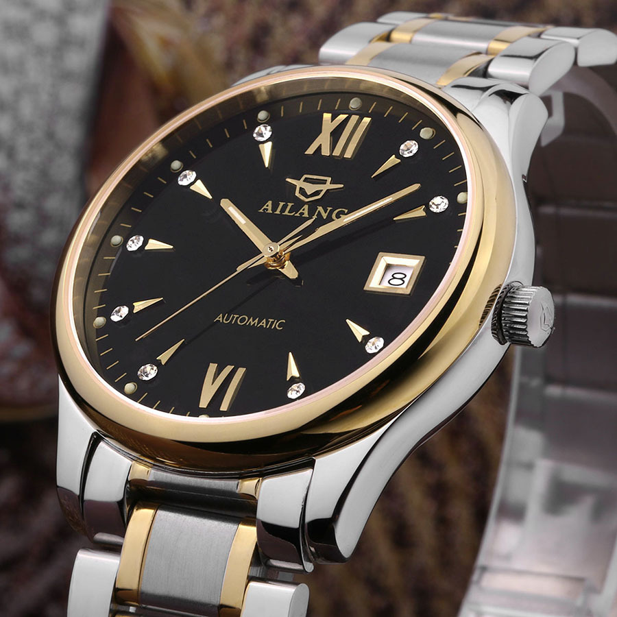 Vintage Fashion AILANG Business Style Men Full Steel Dress Watches Roman Scale Calendar Clock Automatic Analog Relojes NW3315 classic fashion business designer men dress watches imported quartz calendar analog clock waterproof real leather relojes nw4233