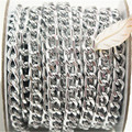 10Yards Silver Curb Chain Roll,Aluminum Chain, Open Link Chain per Link Size 10mmx6mm Jewelry Findings Free Shipping