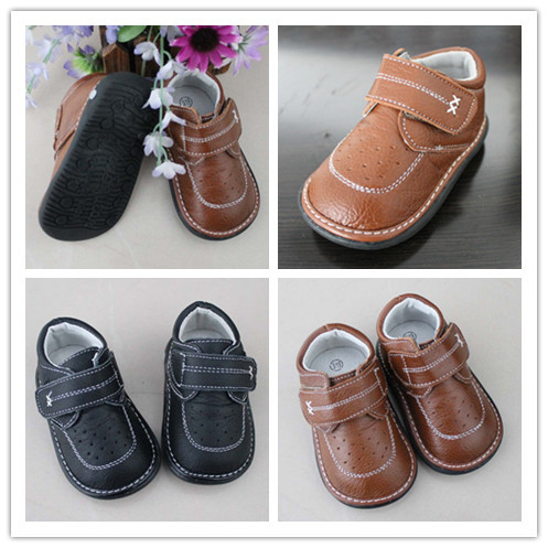 2016  Baby Boy Genuine Leather Squeaky Shoes Children Shoes Sounds Outsole Kids Leather Shoes Free Shipping