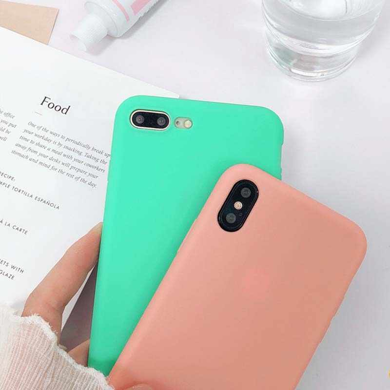 separation shoes 0298b 735fd JIBAN Peach Pink Cute Candy Color Phone Case for Apple iphone 6 for iPhone  X 7plus 8 6s Pure Soft Silicone Couples Back Cover