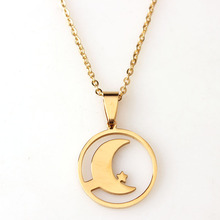 RDW Jewelry Stainless Steel Gold Moon And Star Pendant Necklace Women Moon Jewelry Hot Sale Necklace For Women