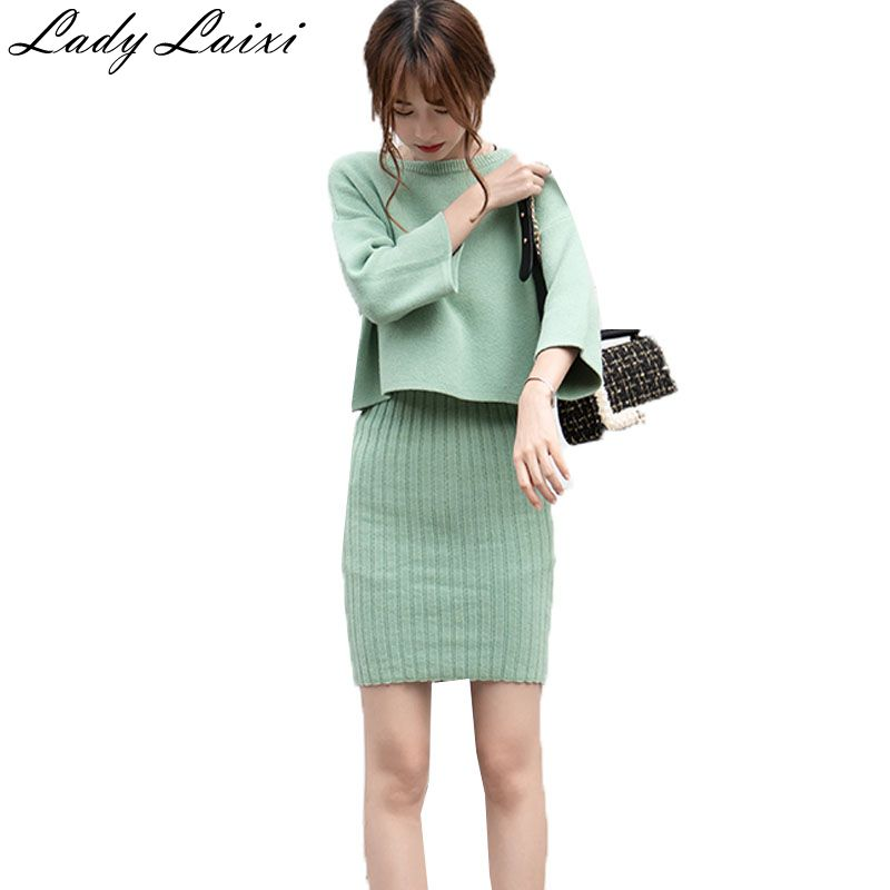Hot Sale Women Knitted Sweater Dress Set Two Pieces Suit Autumn