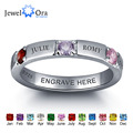 Personalized 925 Sterling Silver CZ Name Ring DIY Birthstone Ring Customize Jewelry for women Best Gift (JewelOra RI101978)