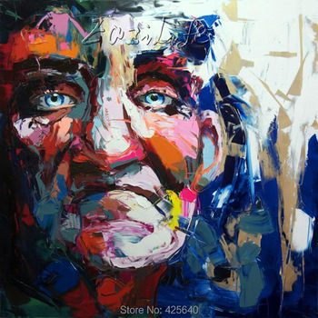 Palette knife painting portrait Palette knife Face Oil painting Impasto figure on canvas Hand painted Francoise Nielly 15-21