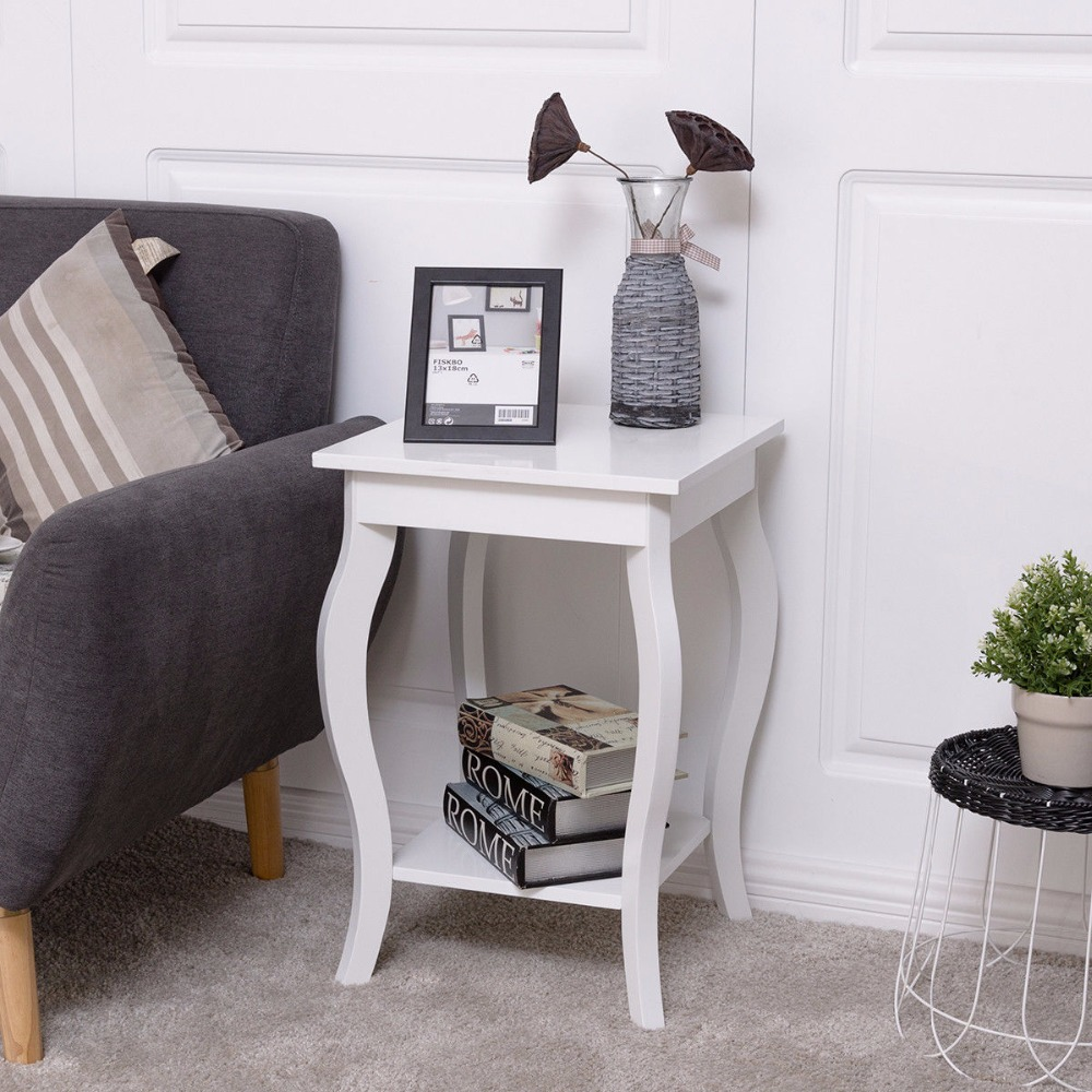 Goplus Accent Side Table Sofa End Table Modern Night Stand Living Room Coffee Table with Storage Shelf White Nightstands HW56557