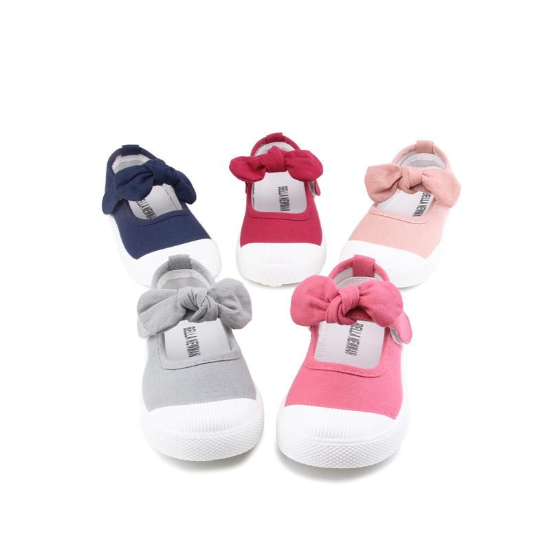 Baby Girl Shoes Canvas Casual Kids Shoes With Bowtie Bow-knot Solid Candy Color Girls Sneakers Children Soft Shoes 21-30 3